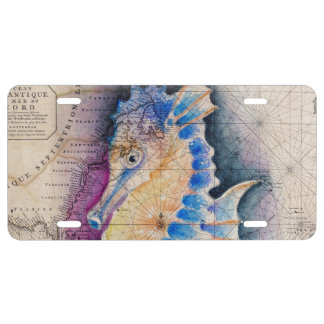 Seahorse old map license plate