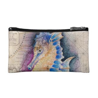 Seahorse old map makeup bag