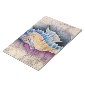 Seahorse old map notepad