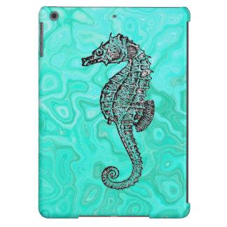Seahorse on Aqua Splash Turquoise Marble Pattern iPad Air Cases