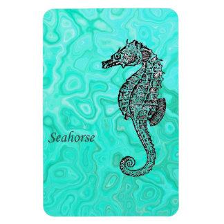 Seahorse on Aqua Splash Turquoise Marble Pattern Rectangular Photo Magnet