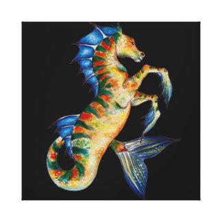 seahorse on black canvas print