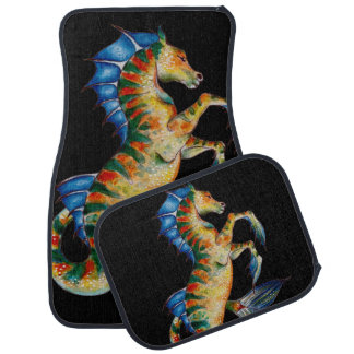 seahorse on black car mat