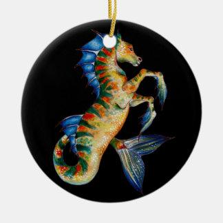 seahorse on black ceramic ornament