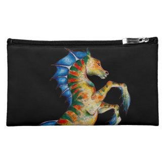seahorse on black cosmetic bag