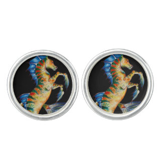 seahorse on black cuff links