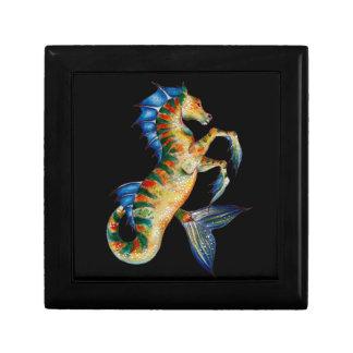 seahorse on black gift box