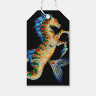 seahorse on black gift tags