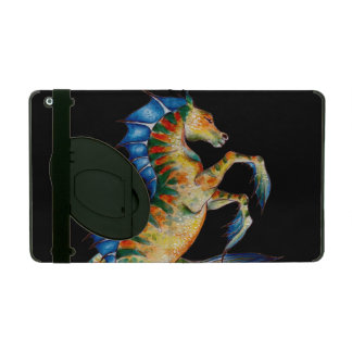 seahorse on black iPad folio case
