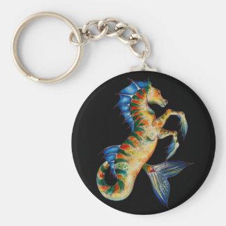 seahorse on black keychain