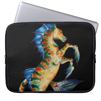 seahorse on black laptop sleeve