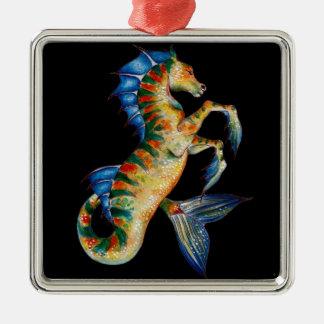 seahorse on black metal ornament