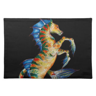 seahorse on black placemat