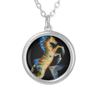 seahorse on black silver plated necklace