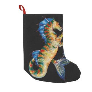 seahorse on black small christmas stocking