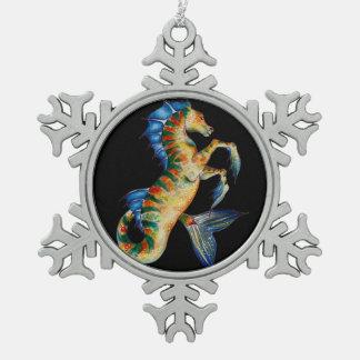 seahorse on black snowflake pewter christmas ornament