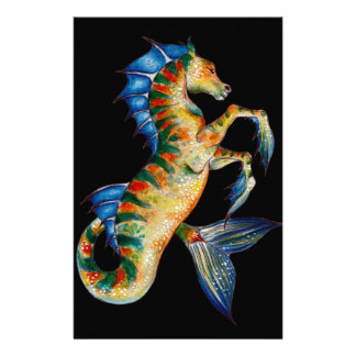 seahorse on black stationery