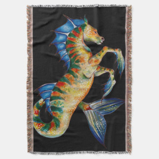 seahorse on black throw blanket