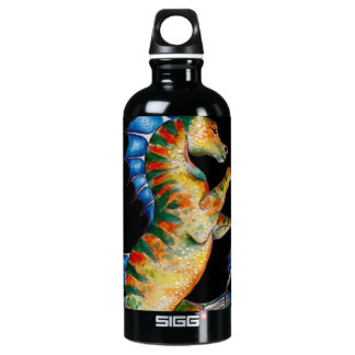 seahorse on black water bottle