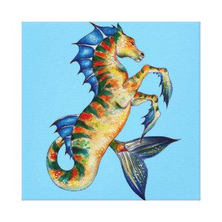 Seahorse On Blue Canvas Print