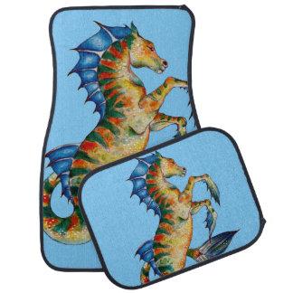 Seahorse On Blue Car Mat