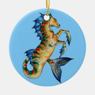 Seahorse On Blue Ceramic Ornament