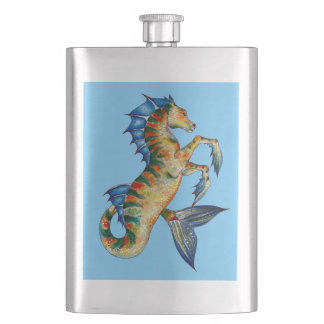 Seahorse On Blue Hip Flask