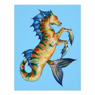Seahorse On Blue Letterhead