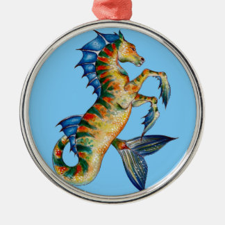 Seahorse On Blue Metal Ornament