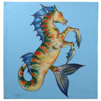 Seahorse On Blue Napkin