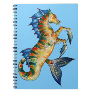Seahorse On Blue Notebook
