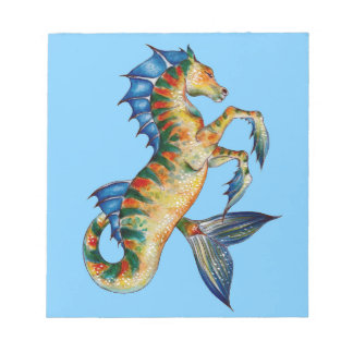 Seahorse On Blue Notepad