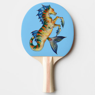 Seahorse On Blue Ping Pong Paddle