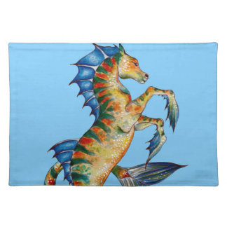 Seahorse On Blue Placemat