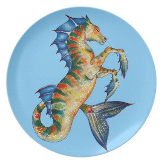 Seahorse On Blue Plate