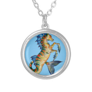 Seahorse On Blue Silver Plated Necklace