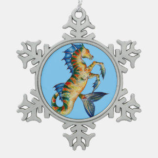 Seahorse On Blue Snowflake Pewter Christmas Ornament