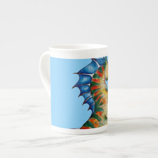 Seahorse On Blue Tea Cup