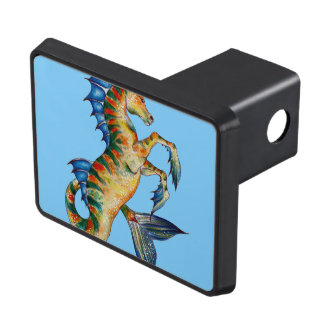 Seahorse On Blue Trailer Hitch Cover
