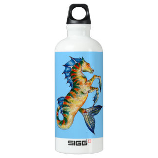 Seahorse On Blue Water Bottle