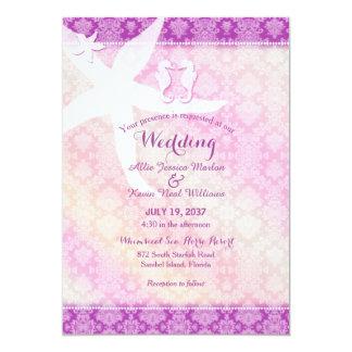 Seahorse Pair Purple Tropical Beach Wedding Card