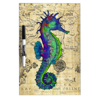 seahorse papyrus map dry erase white board