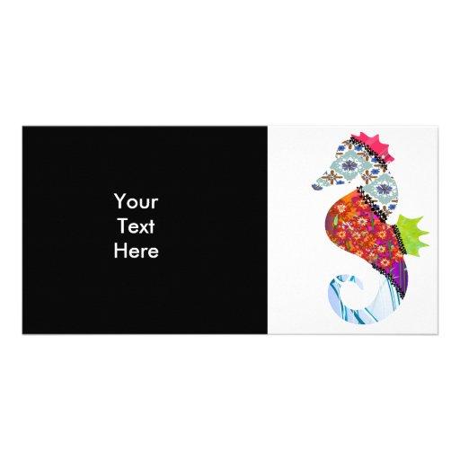 Seahorse Patchwork Pet Photo Card