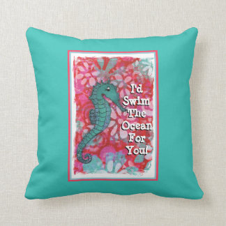 Seahorse Pillow, Ocean Themed Pillow, Teal and Red Throw Pillow