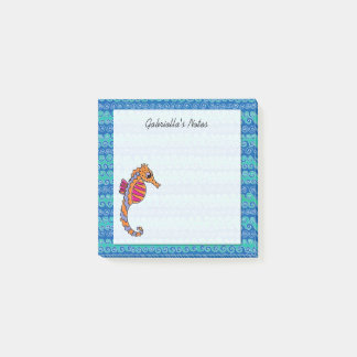 Seahorse Pink, Purple & Orange Personalized 3 x 3 Post-it Notes