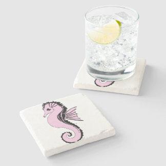 seahorse pink stone coaster
