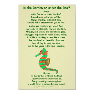 Seahorse poem poster