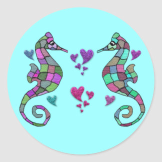 Seahorse Rainbow Valentines Stickers