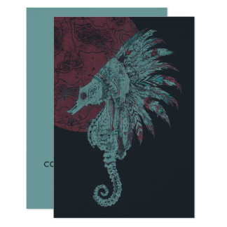 seahorse red moon card