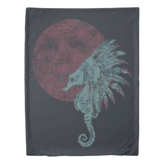 seahorse red moon duvet cover